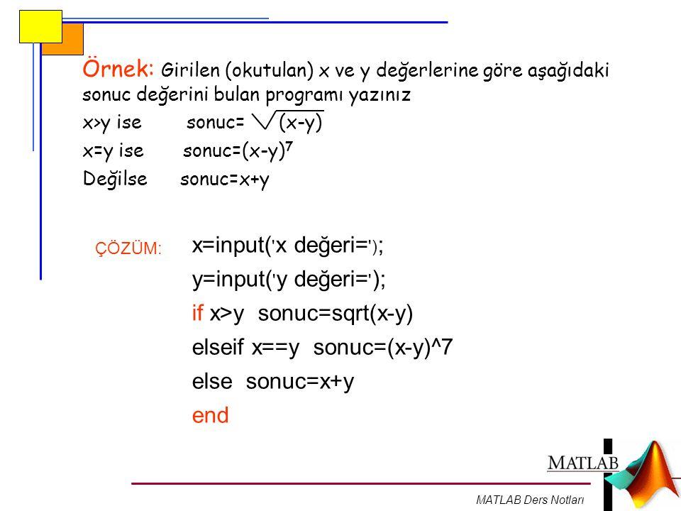 MATLAB Ders Notları Örnek: Girilen (okutulan) x ve y değerlerine göre aşağıdaki sonuc değerini bulan programı yazınız x>y ise sonuc= (x-y) x=y ise son