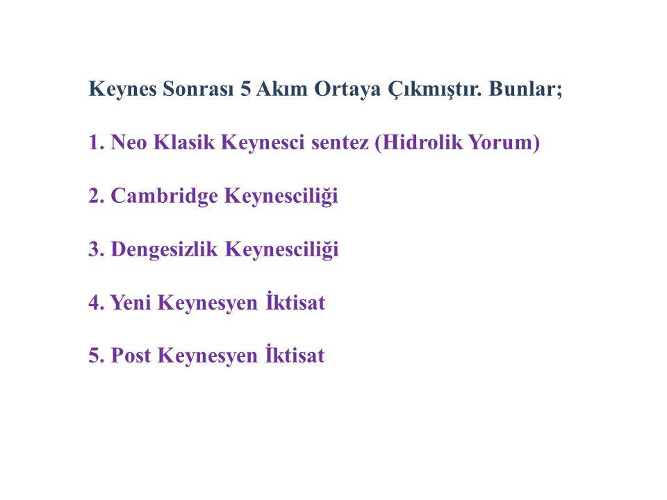 Keynes Sonrası 5 Akım Ortaya Çıkmıştır. Bunlar; 1. Neo Klasik Keynesci sentez (Hidrolik Yorum) 2. Cambridge Keynesciliği 3. Dengesizlik Keynesciliği 4