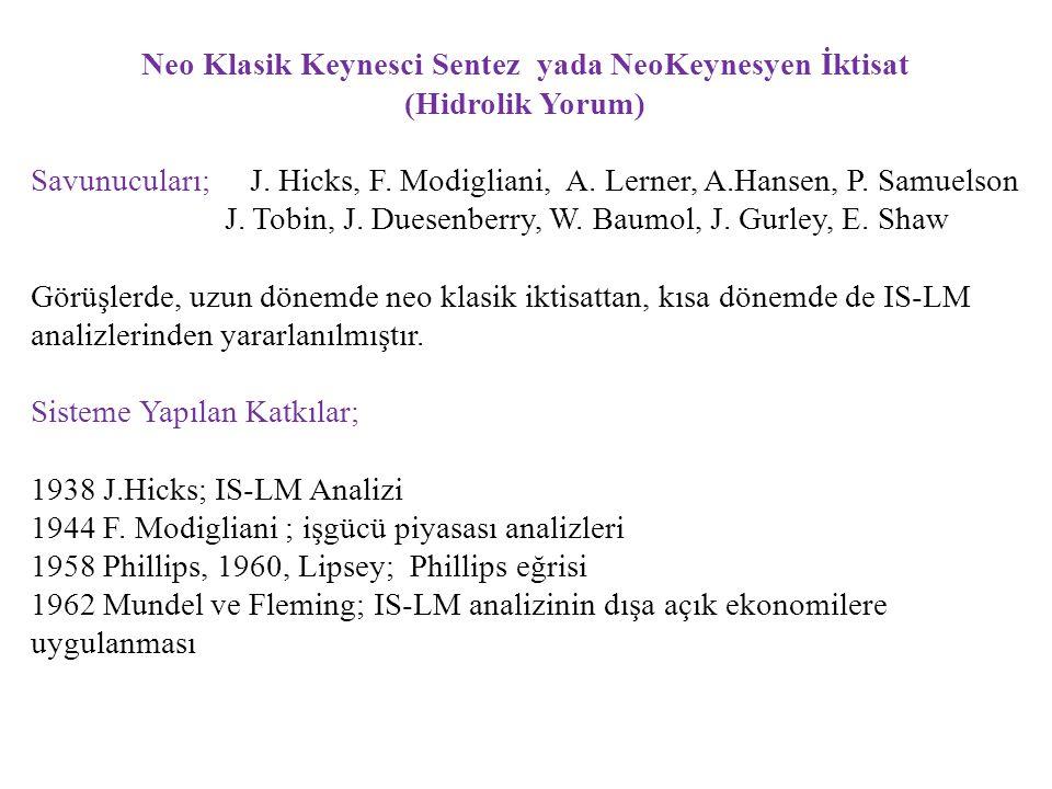 Neo Klasik Keynesci Sentez yada NeoKeynesyen İktisat (Hidrolik Yorum) Savunucuları; J. Hicks, F. Modigliani, A. Lerner, A.Hansen, P. Samuelson J. Tobi
