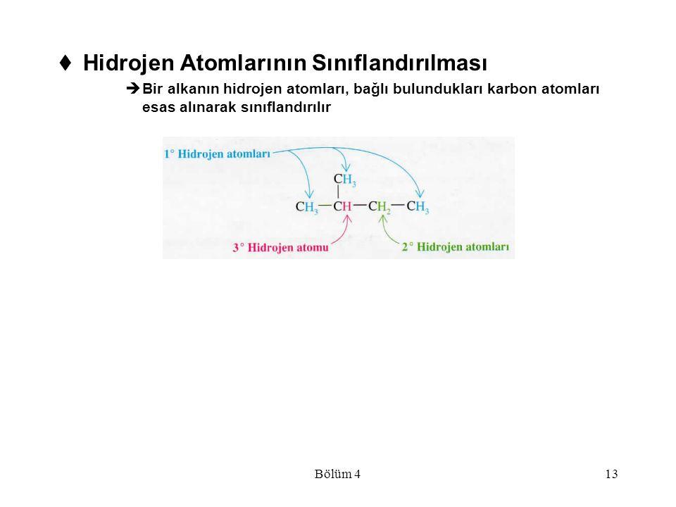 Bölüm 413  Hidrojen Atomlarının Sınıflandırılması  Bir alkanın hidrojen atomları, bağlı bulundukları karbon atomları esas alınarak sınıflandırılır