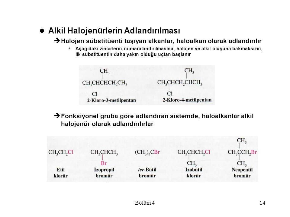 Bölüm 414 Alkil Halojenürlerin Adlandırılması  Halojen sübstitüenti taşıyan alkanlar, haloalkan olarak adlandırılır  Aşağıdaki zincirlerin numaralan