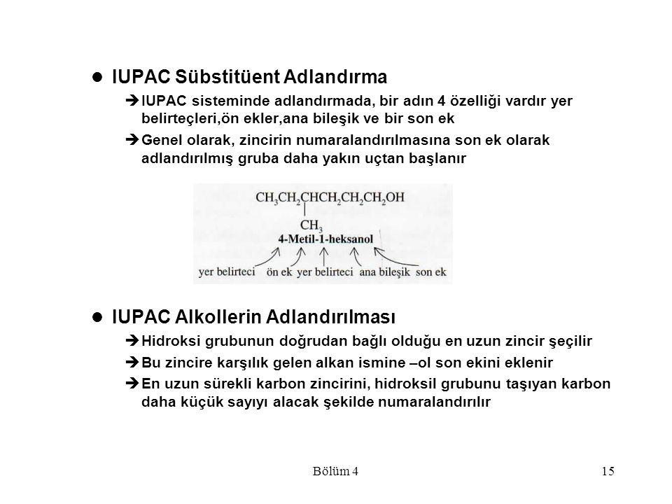 Bölüm 415 IUPAC Sübstitüent Adlandırma  IUPAC sisteminde adlandırmada, bir adın 4 özelliği vardır yer belirteçleri,ön ekler,ana bileşik ve bir son ek