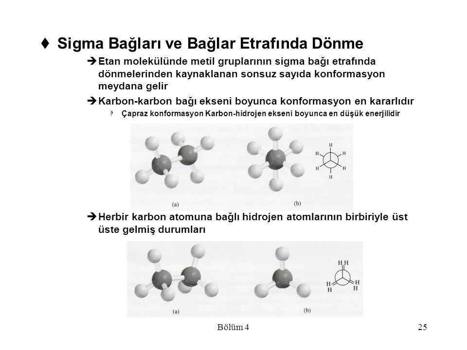 Bölüm 425  Sigma Bağları ve Bağlar Etrafında Dönme  Etan molekülünde metil gruplarının sigma bağı etrafında dönmelerinden kaynaklanan sonsuz sayıda