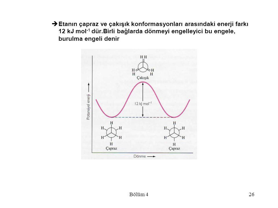 Bölüm 426  Etanın çapraz ve çakışık konformasyonları arasındaki enerji farkı 12 kJ mol -1 dür.Birli bağlarda dönmeyi engelleyici bu engele, burulma e