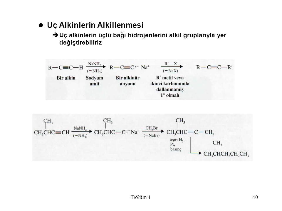 Bölüm 440 Uç Alkinlerin Alkillenmesi  Uç alkinlerin üçlü bağı hidrojenlerini alkil gruplarıyla yer değiştirebiliriz