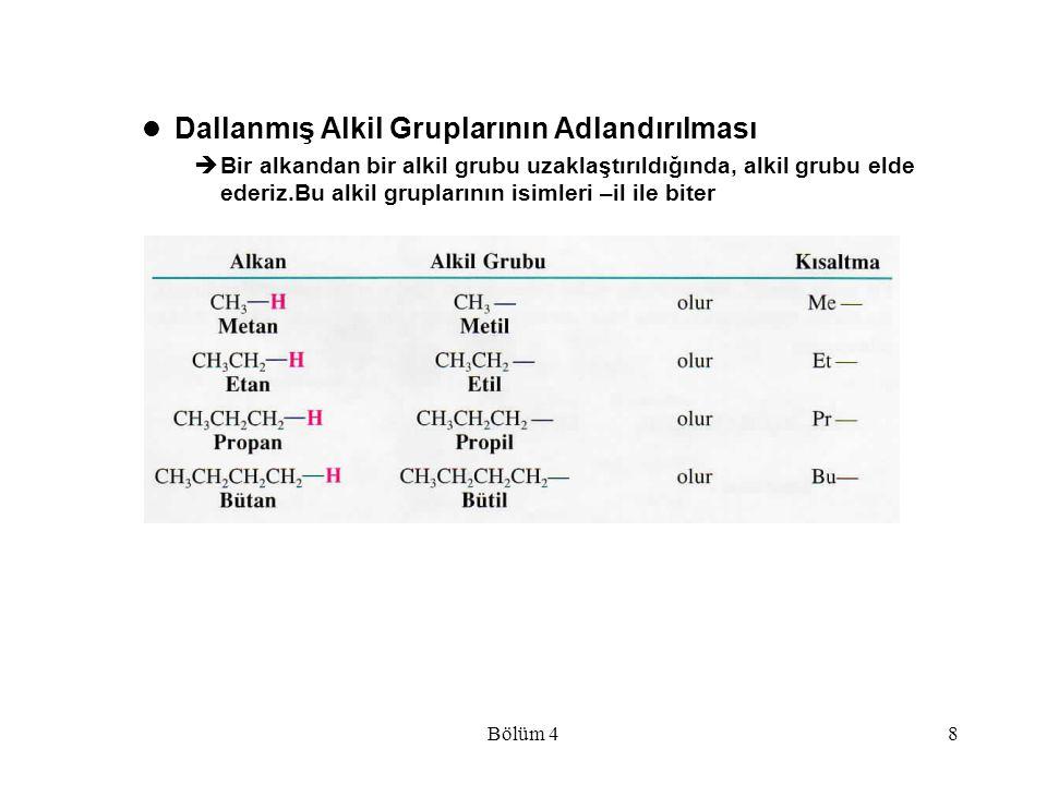 Bölüm 48 Dallanmış Alkil Gruplarının Adlandırılması  Bir alkandan bir alkil grubu uzaklaştırıldığında, alkil grubu elde ederiz.Bu alkil gruplarının i