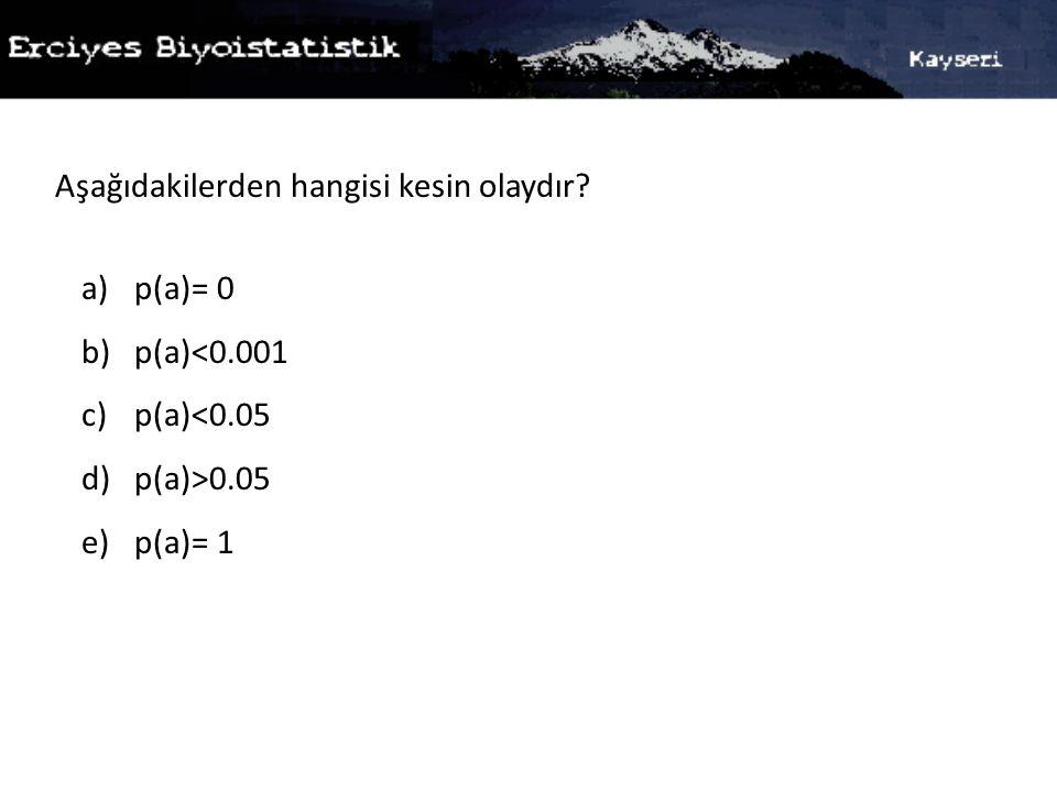 Aşağıdakilerden hangisi kesin olaydır? a)p(a)= 0 b)p(a)<0.001 c)p(a)<0.05 d)p(a)>0.05 e)p(a)= 1