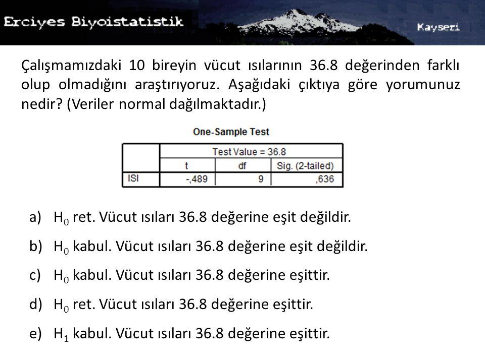 Çalışmamızdaki 10 bireyin vücut ısılarının 36.8 değerinden farklı olup olmadığını araştırıyoruz.
