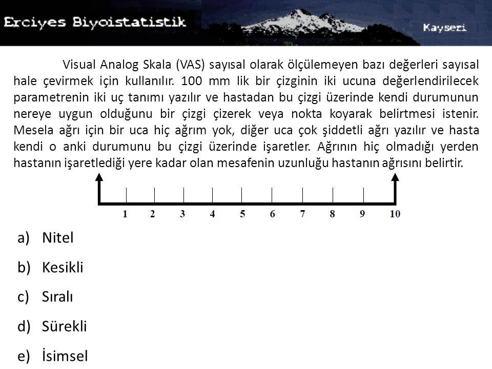 Visual Analog Skala (VAS) sayısal olarak ölçülemeyen bazı değerleri sayısal hale çevirmek için kullanılır. 100 mm lik bir çizginin iki ucuna değerlend