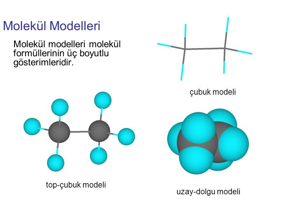 Molekül Modelleri Molekül modelleri molekül formüllerinin üç boyutlu gösterimleridir.