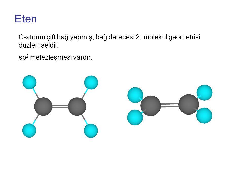 Eten C-atomu çift bağ yapmış, bağ derecesi 2; molekül geometrisi düzlemseldir.
