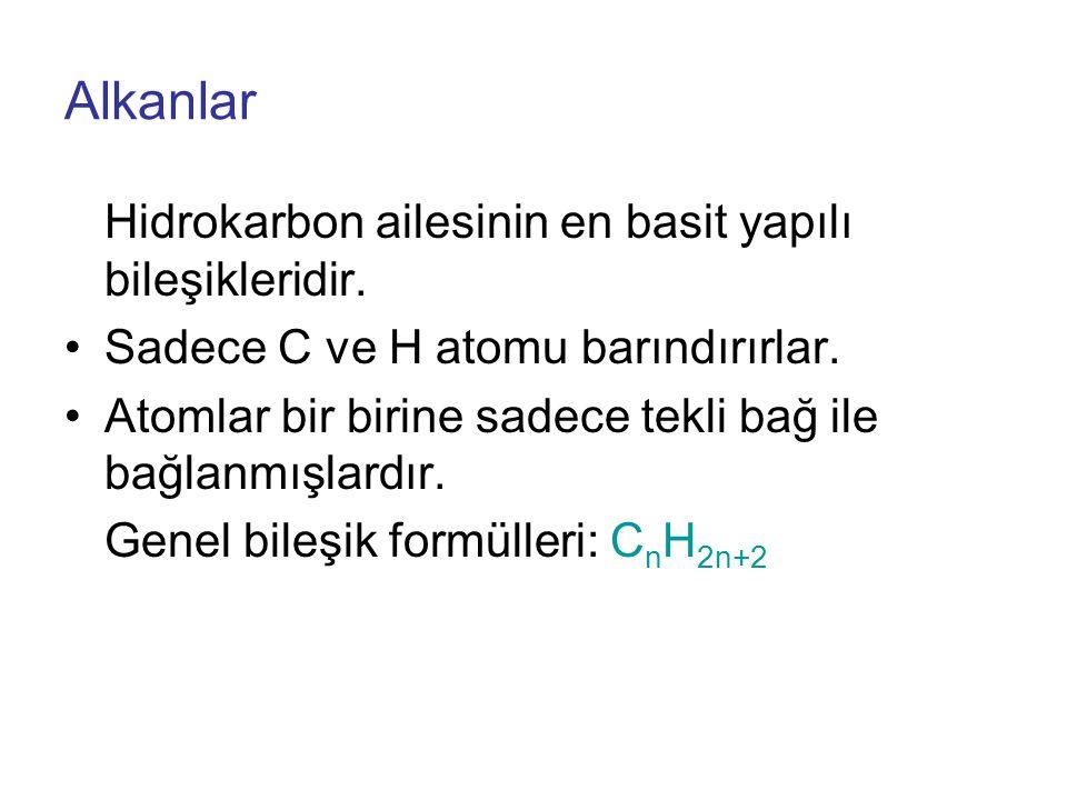 Alkanlar Hidrokarbon ailesinin en basit yapılı bileşikleridir.