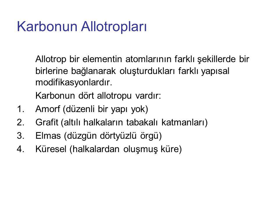 Karbonun Allotropları Allotrop bir elementin atomlarının farklı şekillerde bir birlerine bağlanarak oluşturdukları farklı yapısal modifikasyonlardır.