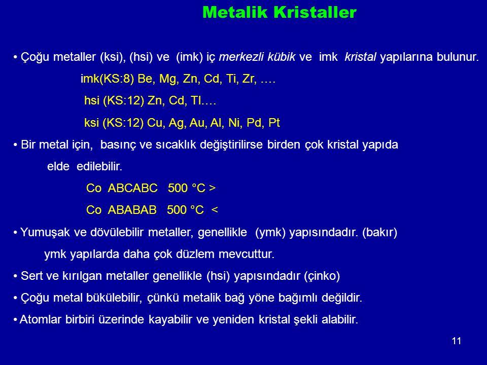 11 Metalik Kristaller Çoğu metaller (ksi), (hsi) ve (imk) iç merkezli kübik ve imk kristal yapılarına bulunur.