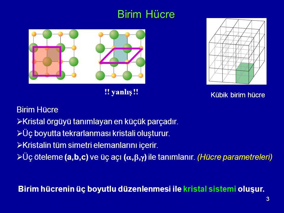 4 Kristal Sistemi Hücre parametrelerinin farklı kombinasyonu ile yedi tane kristal sistemi (kristal sınıfı) meydana gelir.