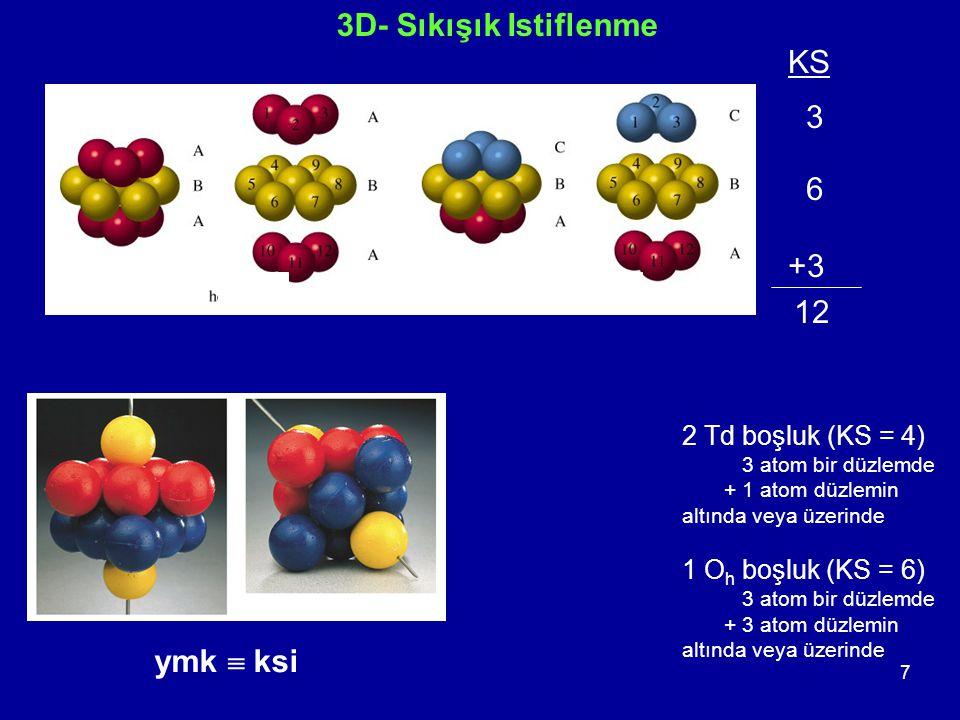 7 3D- Sıkışık Istiflenme ymk  ksi KS 3 6 +3 12 2 Td boşluk (KS = 4) 3 atom bir düzlemde + 1 atom düzlemin altında veya üzerinde 1 O h boşluk (KS = 6) 3 atom bir düzlemde + 3 atom düzlemin altında veya üzerinde