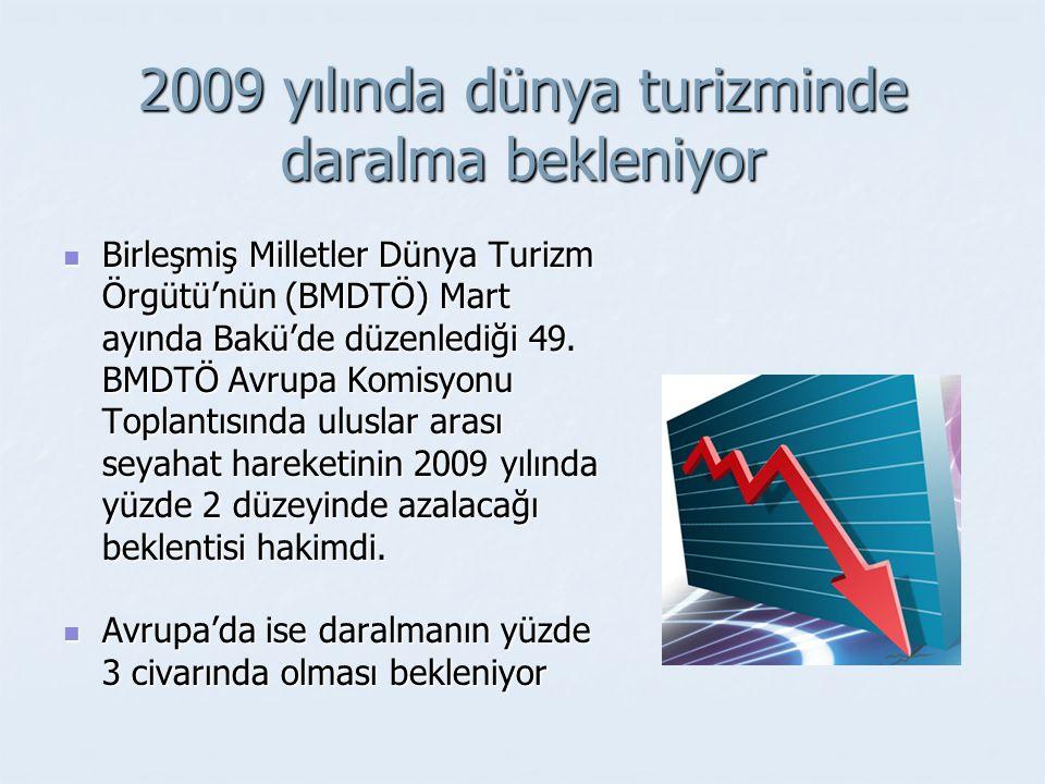 2009 yılında dünya turizminde daralma bekleniyor Birleşmiş Milletler Dünya Turizm Örgütü'nün (BMDTÖ) Mart ayında Bakü'de düzenlediği 49.