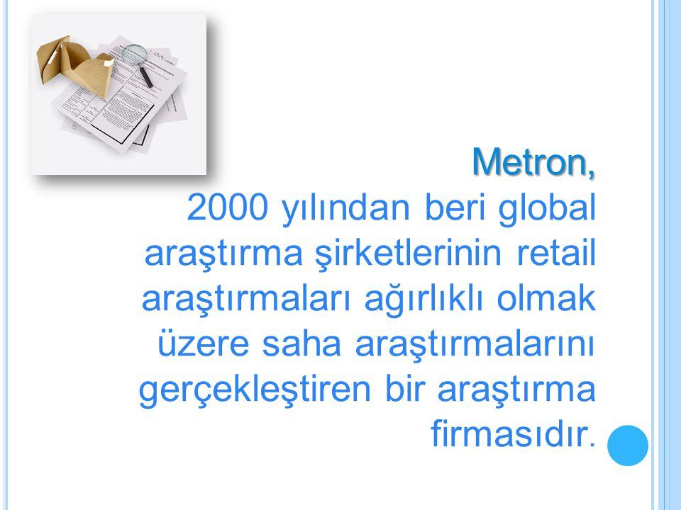 Metron, 2000 yılından beri global araştırma şirketlerinin retail araştırmaları ağırlıklı olmak üzere saha araştırmalarını gerçekleştiren bir araştırma firmasıdır.