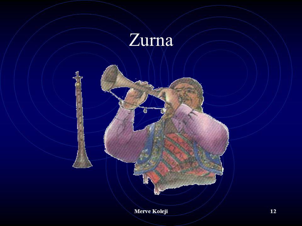 Merve Koleji11 Türk Müziği Üflemeli Çalgıları Zurna Şimşir, gürgen, ardıç gibi ağaçlardan yapılır. Sesi çok güçlü bir ezgi çalgısıdır. Önde yedi, arka
