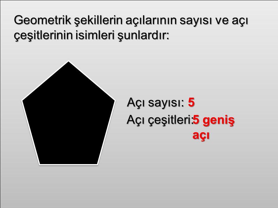 Geometrik şekillerin açılarının sayısı ve açı çeşitlerinin isimleri şunlardır: Açı sayısı:5 Açı çeşitleri:5 geniş açı