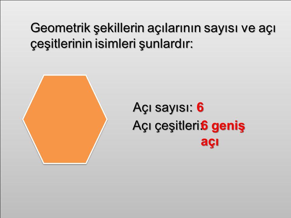 Geometrik şekillerin açılarının sayısı ve açı çeşitlerinin isimleri şunlardır: Açı sayısı:6 Açı çeşitleri:6 geniş açı