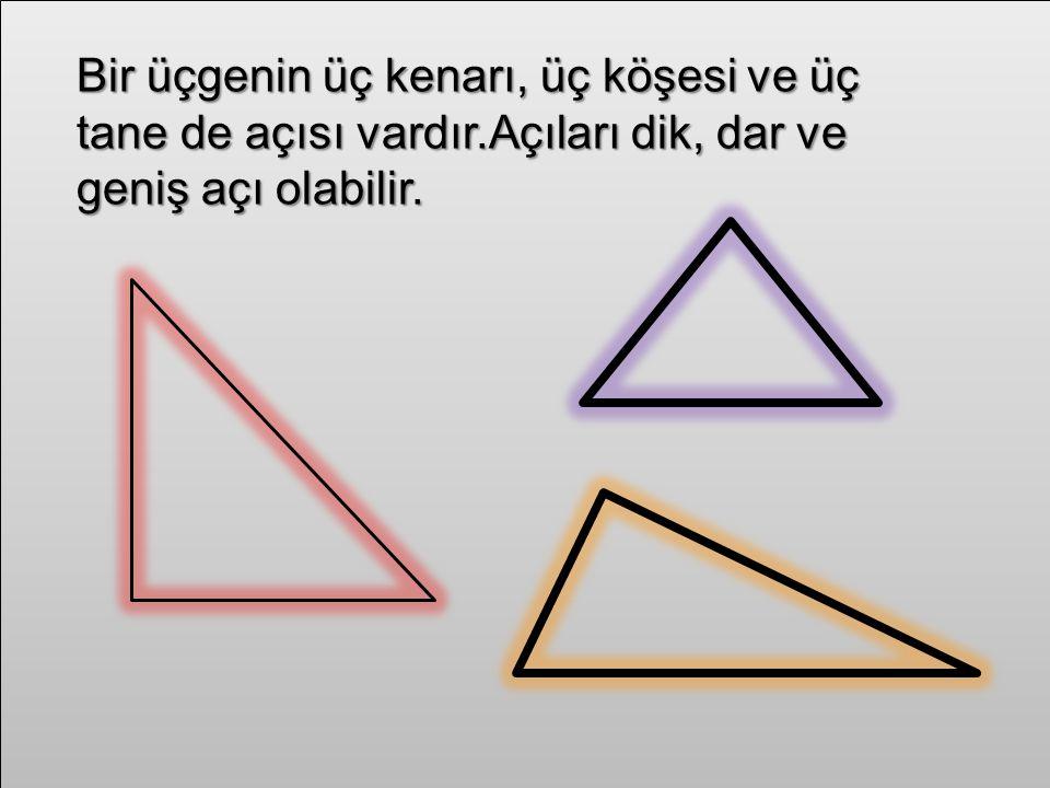 Bir üçgenin üç kenarı, üç köşesi ve üç tane de açısı vardır.Açıları dik, dar ve geniş açı olabilir.