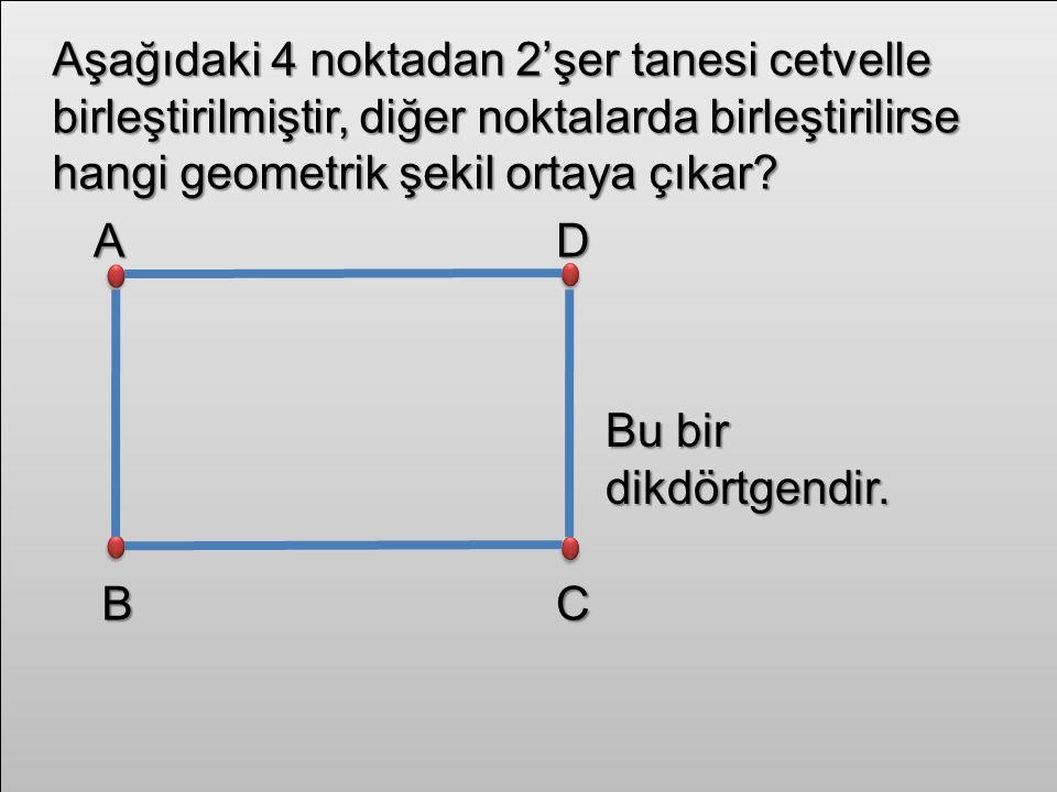 Geometrik şekillerin açılarının sayısı ve açı çeşitlerinin isimleri şunlardır: Açı sayısı:6 Açı çeşitleri:2 dik açı 4 geniş açı
