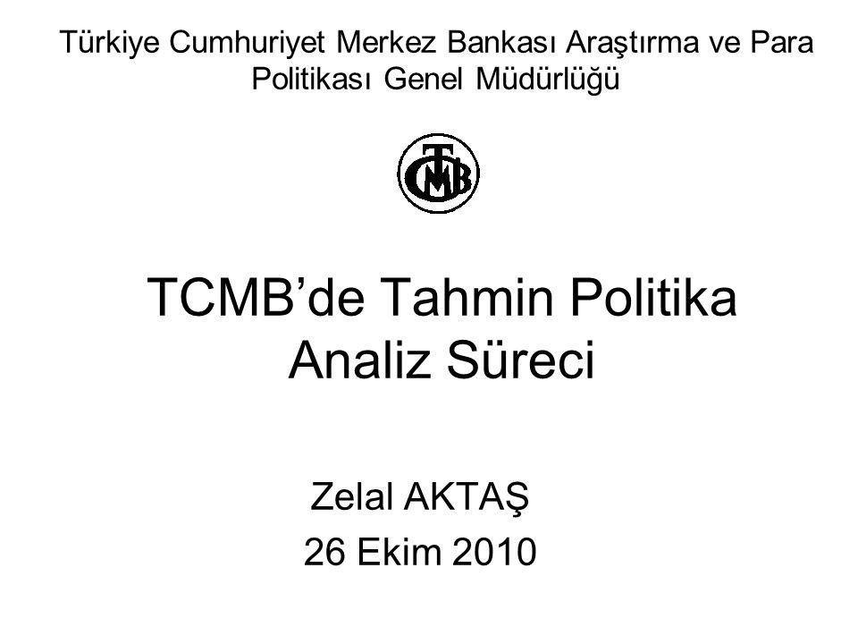TCMB'de Tahmin Politika Analiz Süreci Zelal AKTAŞ 26 Ekim 2010 Türkiye Cumhuriyet Merkez Bankası Araştırma ve Para Politikası Genel Müdürlüğü
