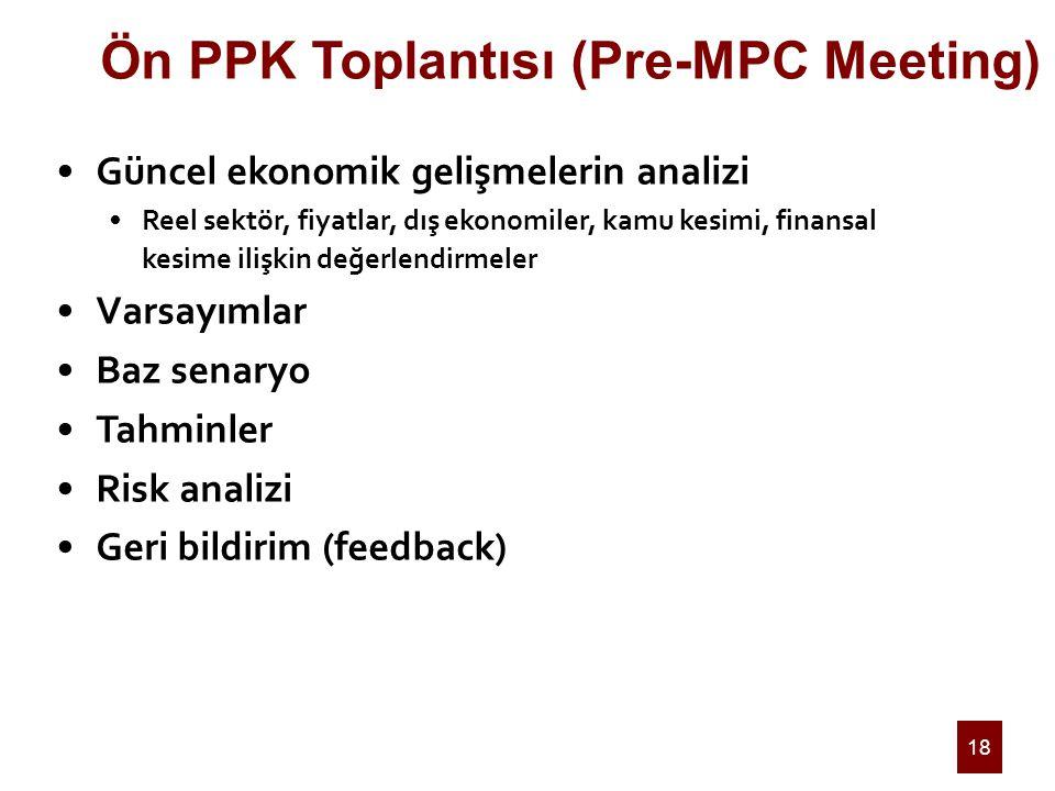 18 Ön PPK Toplantısı (Pre-MPC Meeting) Güncel ekonomik gelişmelerin analizi Reel sektör, fiyatlar, dış ekonomiler, kamu kesimi, finansal kesime ilişkin değerlendirmeler Varsayımlar Baz senaryo Tahminler Risk analizi Geri bildirim (feedback)