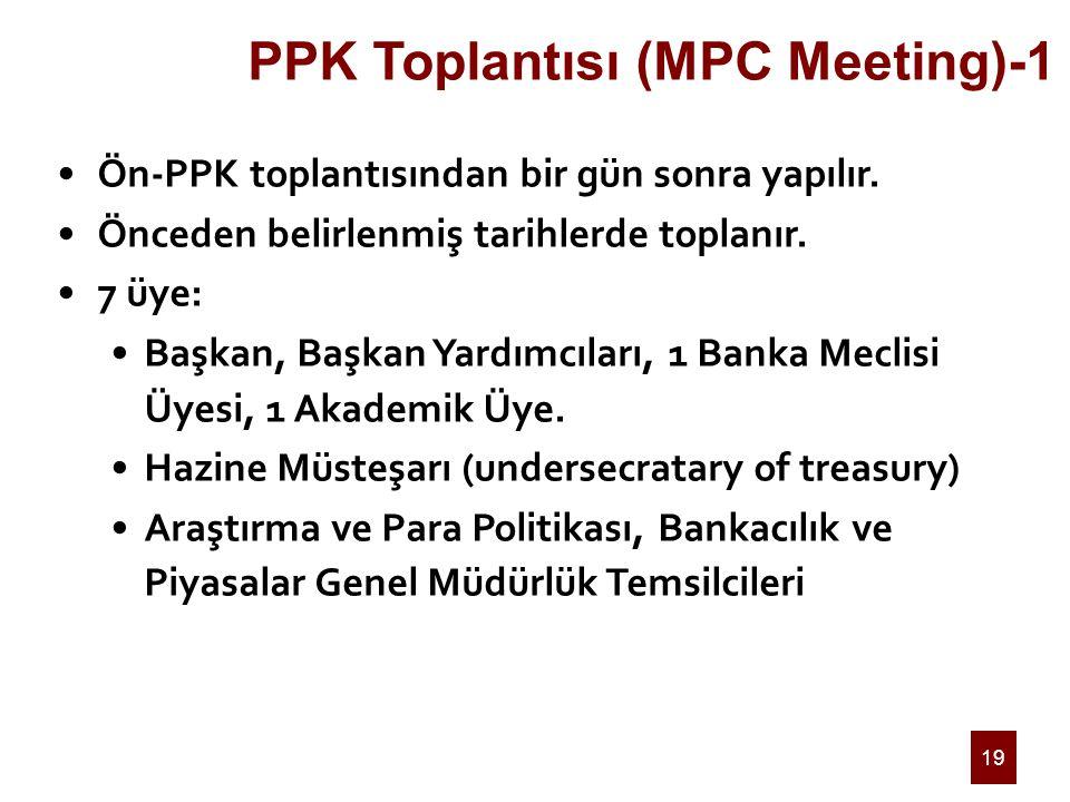 19 PPK Toplantısı (MPC Meeting)-1 Ön-PPK toplantısından bir gün sonra yapılır. Önceden belirlenmiş tarihlerde toplanır. 7 üye: Başkan, Başkan Yardımcı