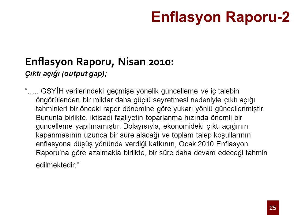 """25 Enflasyon Raporu-2 Enflasyon Raporu, Nisan 2010: Çıktı açığı (output gap); """"….. GSYİH verilerindeki geçmişe yönelik güncelleme ve iç talebin öngörü"""