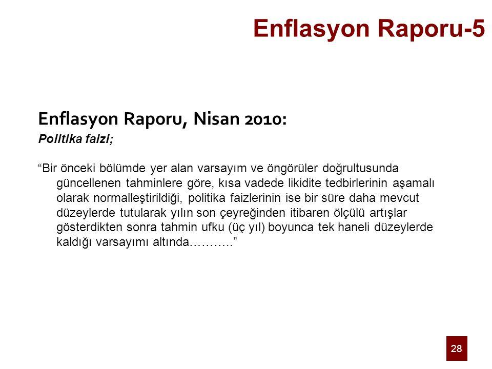 """28 Enflasyon Raporu-5 Enflasyon Raporu, Nisan 2010: Politika faizi; """"Bir önceki bölümde yer alan varsayım ve öngörüler doğrultusunda güncellenen tahmi"""