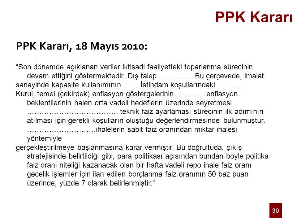 """30 PPK Kararı PPK Kararı, 18 Mayıs 2010: """"Son dönemde açıklanan veriler iktisadi faaliyetteki toparlanma sürecinin devam ettiğini göstermektedir. Dış"""