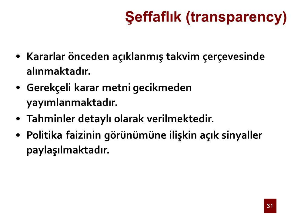31 Şeffaflık (transparency) Kararlar önceden açıklanmış takvim çerçevesinde alınmaktadır. Gerekçeli karar metni gecikmeden yayımlanmaktadır. Tahminler