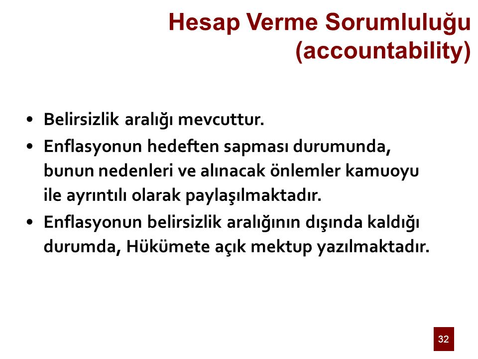 32 Hesap Verme Sorumluluğu (accountability) Belirsizlik aralığı mevcuttur.