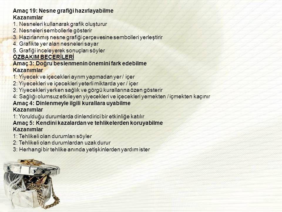 PÜTÜRLÜ-KAYGAN AZ-ÇOK SERT-YUMUŞAK AÇIK-KAPALI SAĞINDA-SOLUNDA İLERİ-GERİ ISLAK-KURU ÖN-ARKA SERT-YUMUŞAK ŞEKİL TAMAMLAMA ÇALIŞMASI 1-10 ARASI SAYILAR İLE ARTIRMA EKSİLTME 1-20 ARASI SAYILAR İLE RİTMİK SAYMA 7-10 ARASI RAKAMLARI TANIMA VE YAZMA ZIT ANLAMLI SÖZCÜKLERİ BULMA BEŞGEN NESNELERLE GRAFİK OLUŞTURMA