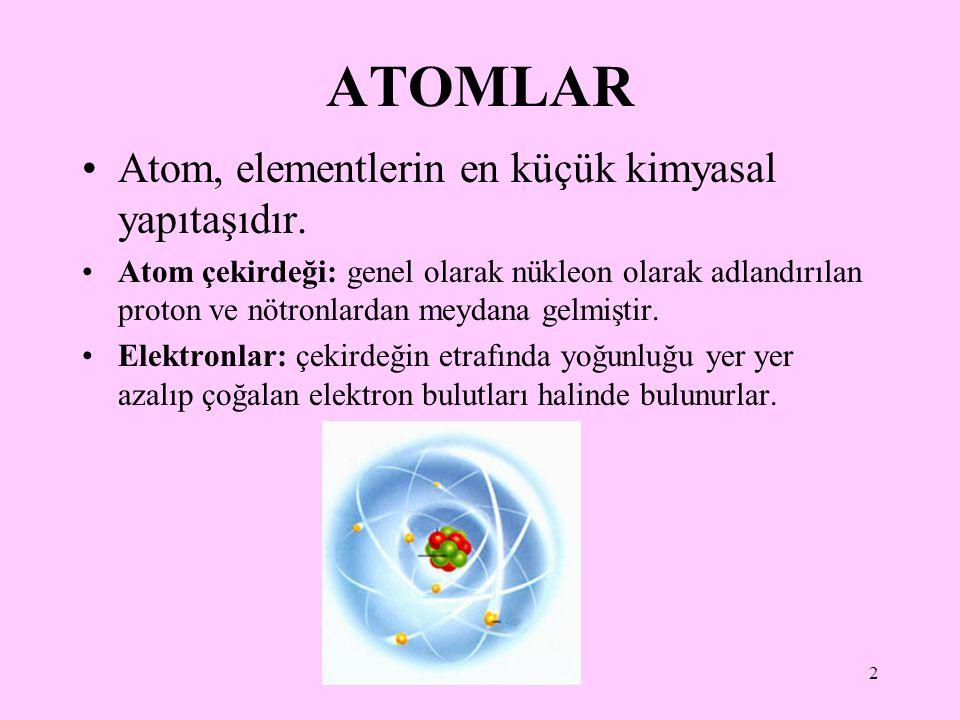2 ATOMLAR Atom, elementlerin en küçük kimyasal yapıtaşıdır. Atom çekirdeği: genel olarak nükleon olarak adlandırılan proton ve nötronlardan meydana ge