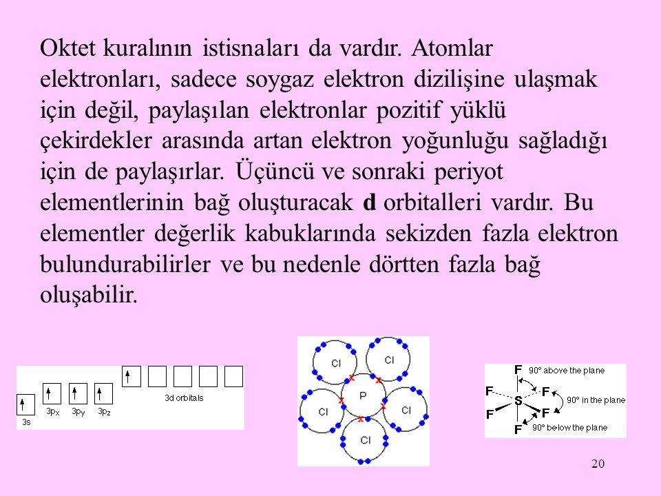 20 Oktet kuralının istisnaları da vardır. Atomlar elektronları, sadece soygaz elektron dizilişine ulaşmak için değil, paylaşılan elektronlar pozitif y