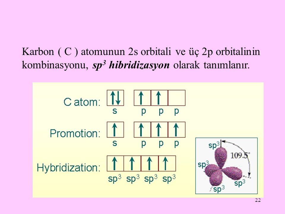 22 Karbon ( C ) atomunun 2s orbitali ve üç 2p orbitalinin kombinasyonu, sp 3 hibridizasyon olarak tanımlanır.
