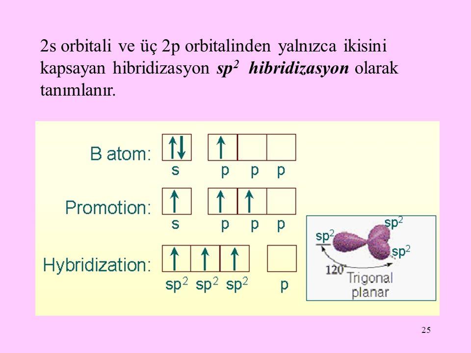 25 2s orbitali ve üç 2p orbitalinden yalnızca ikisini kapsayan hibridizasyon sp 2 hibridizasyon olarak tanımlanır.