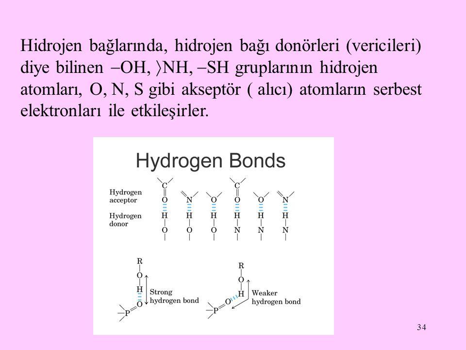 34 Hidrojen bağlarında, hidrojen bağı donörleri (vericileri) diye bilinen  OH,  NH,  SH gruplarının hidrojen atomları, O, N, S gibi akseptör ( alıc