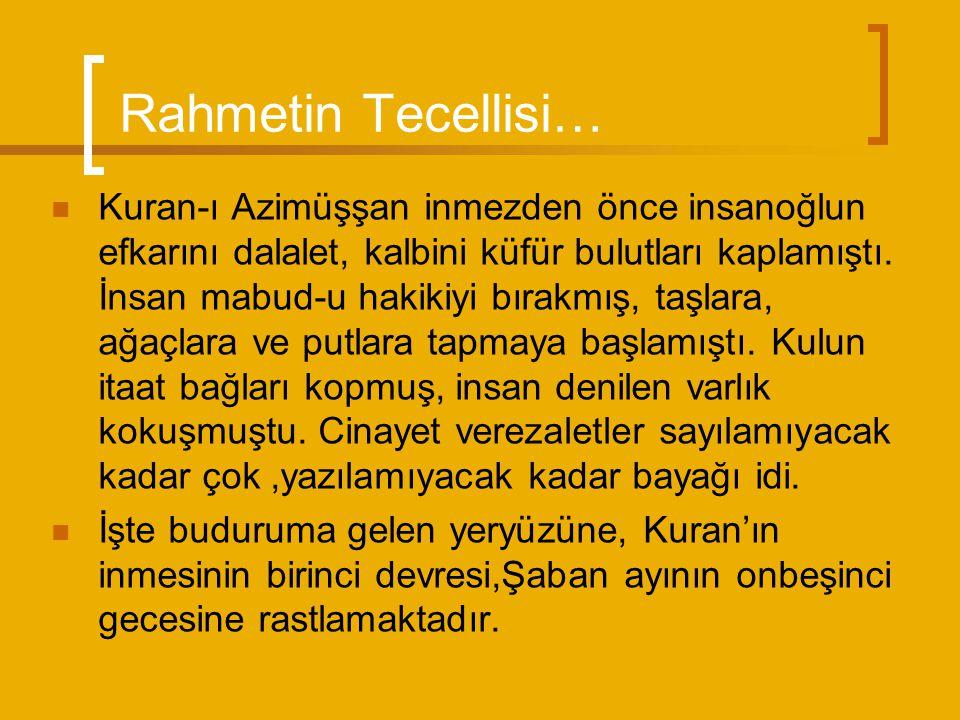Rahmetin Tecellisi… Kuran-ı Azimüşşan inmezden önce insanoğlun efkarını dalalet, kalbini küfür bulutları kaplamıştı.