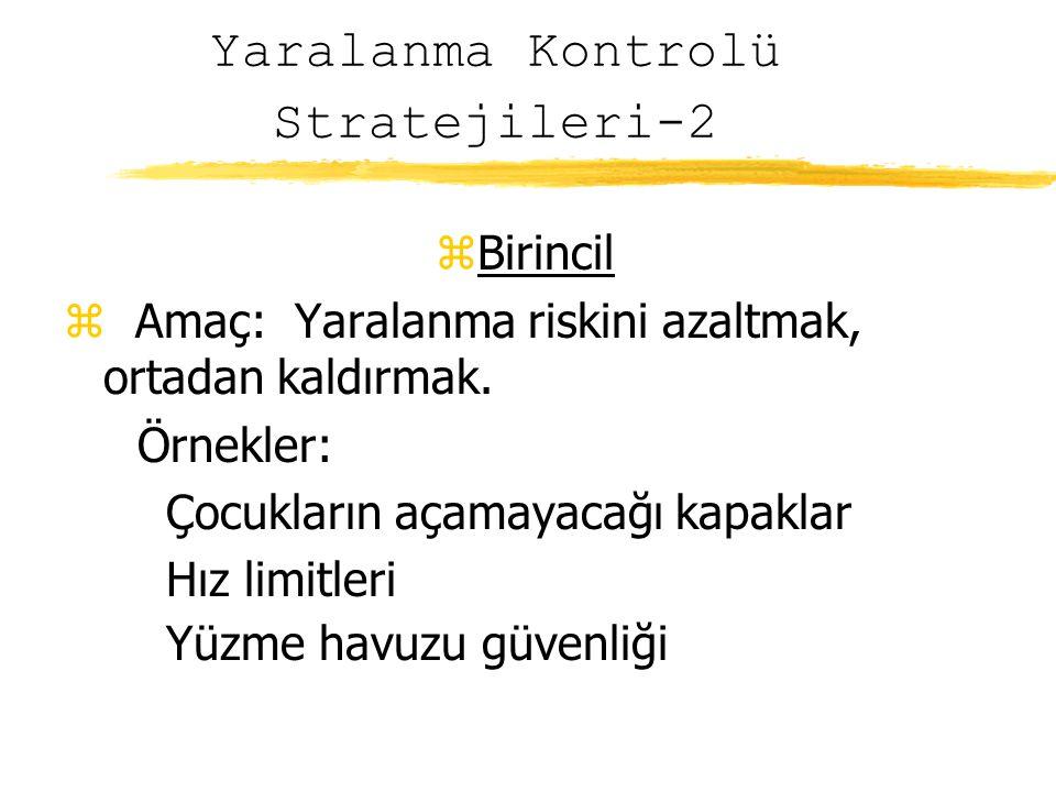 Yaralanma Kontrolü Stratejileri-2 zBirincil z Amaç: Yaralanma riskini azaltmak, ortadan kaldırmak.