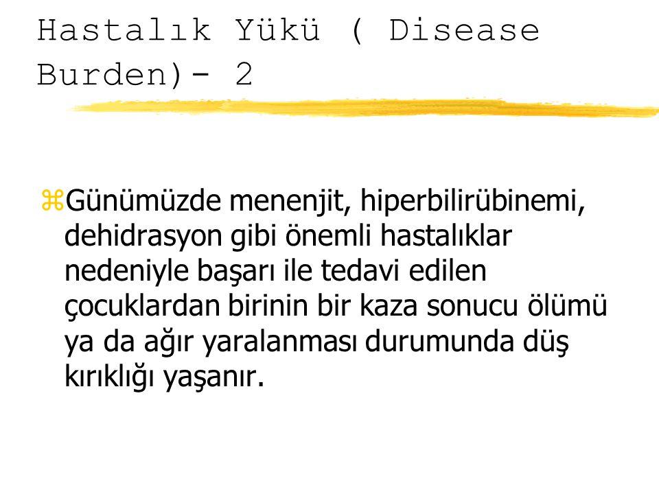 Hastalık Yükü ( Disease Burden)- 2 zGünümüzde menenjit, hiperbilirübinemi, dehidrasyon gibi önemli hastalıklar nedeniyle başarı ile tedavi edilen çocuklardan birinin bir kaza sonucu ölümü ya da ağır yaralanması durumunda düş kırıklığı yaşanır.