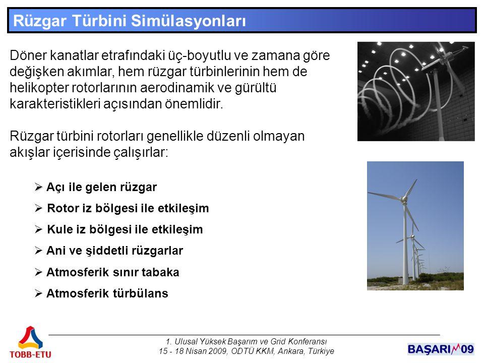1. Ulusal Yüksek Başarım ve Grid Konferansı 15 - 18 Nisan 2009, ODTÜ KKM, Ankara, Türkiye TOBB-ETU Rüzgar Türbini Simülasyonları Döner kanatlar etrafı