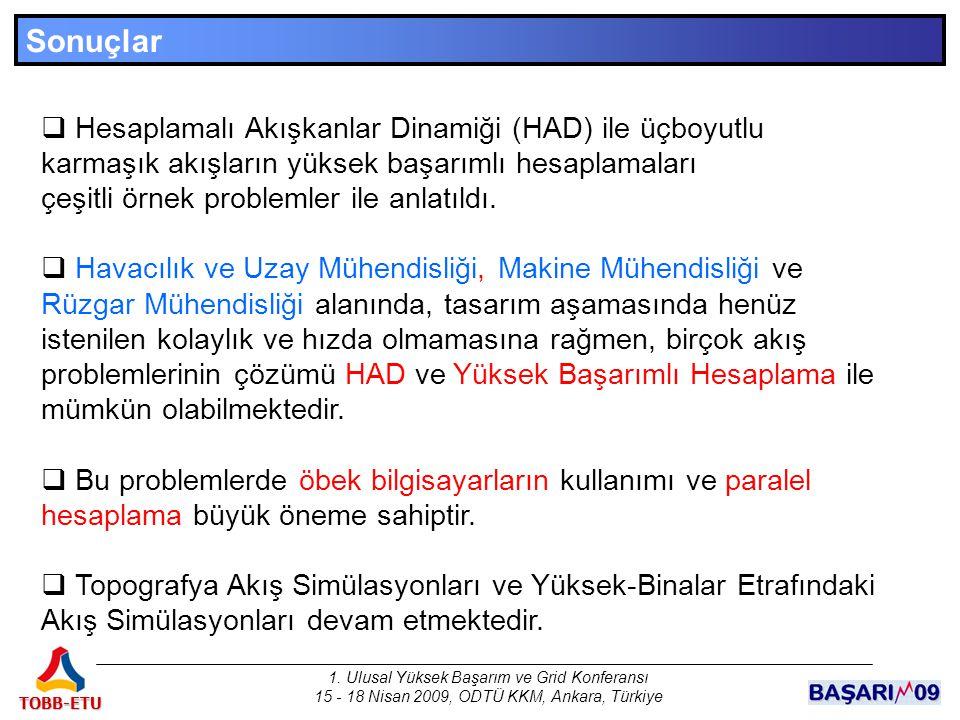 1. Ulusal Yüksek Başarım ve Grid Konferansı 15 - 18 Nisan 2009, ODTÜ KKM, Ankara, Türkiye TOBB-ETU Sonuçlar  Hesaplamalı Akışkanlar Dinamiği (HAD) il