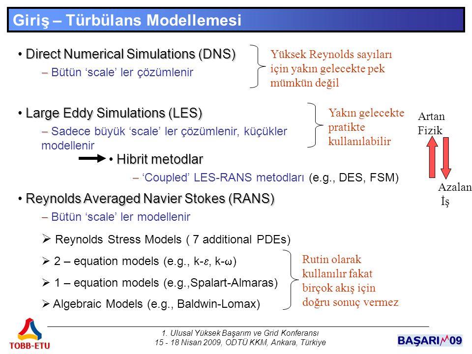 1. Ulusal Yüksek Başarım ve Grid Konferansı 15 - 18 Nisan 2009, ODTÜ KKM, Ankara, Türkiye TOBB-ETU Giriş – Türbülans Modellemesi Direct Numerical Simu