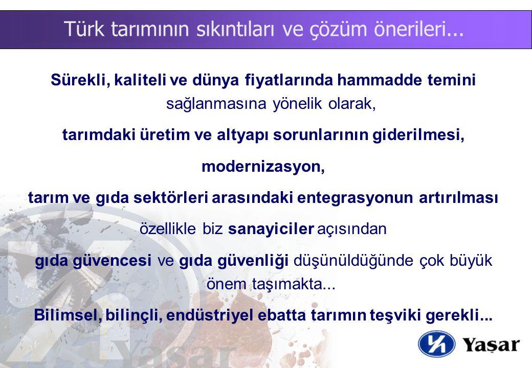 Türk tarımının sıkıntıları ve çözüm önerileri... Sürekli, kaliteli ve dünya fiyatlarında hammadde temini sağlanmasına yönelik olarak, tarımdaki üretim