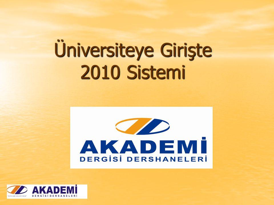 Üniversiteye Girişte 2010 Sistemi