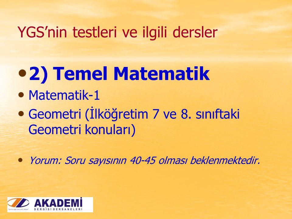 YGS'nin testleri ve ilgili dersler 2) Temel Matematik Matematik-1 Geometri (İlköğretim 7 ve 8.